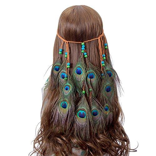 Pfau Feder Stirnband Bohemien Kopfschmuck - AWAYTR Neu Indisch Hippie Kopfstück Gebürtig Amerikanisch Geflochten (Indischen Einfach Kostüm)