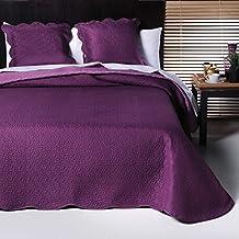 Colcha bouti lisa reversible de microfibra modelo Montblanc - cama 135 - medida 235x270 - color morado