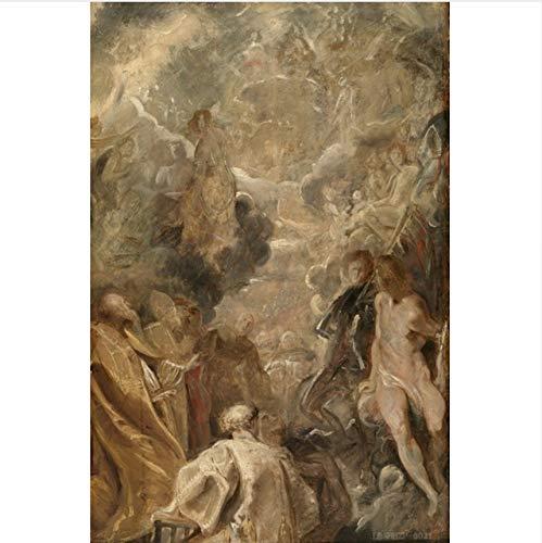 XJWHYYHAO Jahr Home Decor Art Große Öl Leinwand Gemälde Porträt Hd Druck Gemälde Auf Leinwand Poster 50X40 cm
