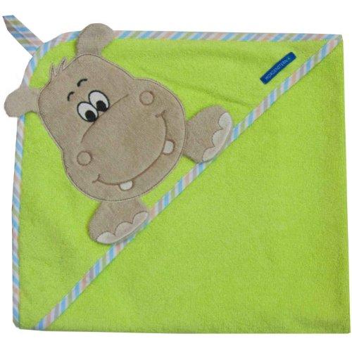 Morgenstern Kapuzentuch 100x100 cm, Motiv Nilpferd (Hippo), 100% Baumwolle (Baumwolle-maschine Motiv-100%)