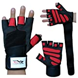 EVO Fitness Leather Weight lifting Gloves Gym Neoprene Wrist Wraps Support Straps Wheelchair Cycling