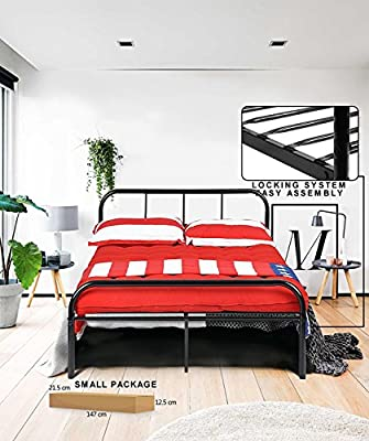 Coavas Metal Bed Frame Child or Adults Solid Bedstead Base with 2 headboard Black produced by DHHX CO - quick delivery from UK.