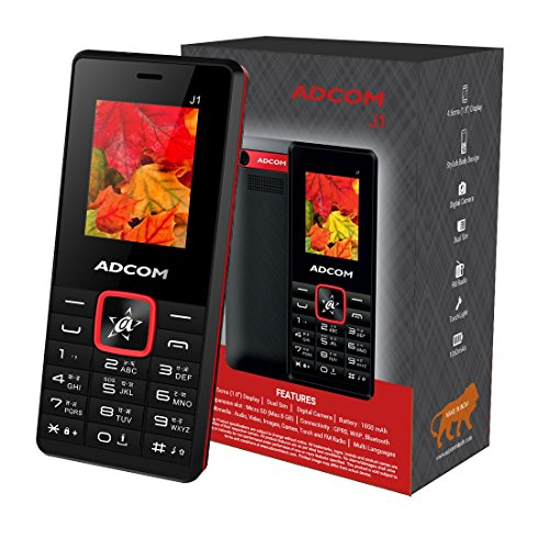 Adcom J1 Voice Changer Dual Sim Mobile Phone with Wireless FM Radio (1.8 inch Display, 1050 mAh Battery, Black/Red)