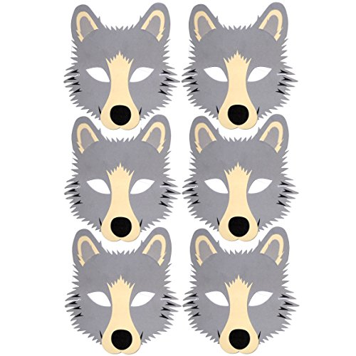 6grau Wolf Schaumstoff Kinder Face Masken-hergestellt von Frosch blau Spielzeug