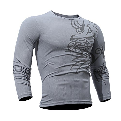 KPILP Tops Men Mode Druck langärmeliges warmes T-Shirt Bluse Outwear Herbst Winter ()