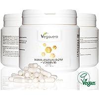 PAPAYA ENZIMA PAPAINA + ANANAS ENZIMA BROMELINA 600 mg, 300 capsule di Vegavero, (300 mg papaina bromelina + 300mg), vegan, 300 capsule di qualità dalla Germania