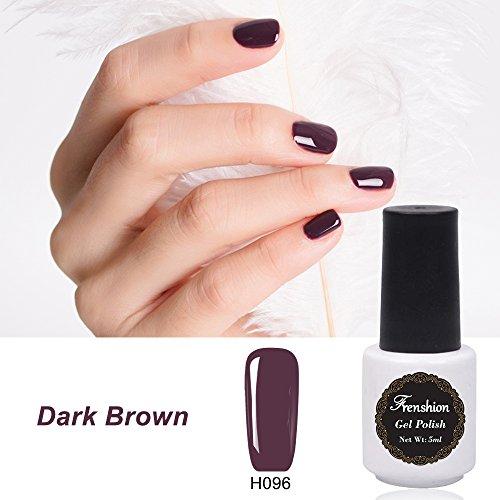 Frenshion Semi di smalto per unghie gel 5ml Soak off Nail Kit per manicure per smalto LED UV Marrone scuro H96