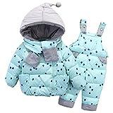 LSERVER-Mädchen Junge Süß Daunenjacke+ Stepphose Winterjacke mit kapuze Down Jacket 2tlg Bekleidungsset verdickte Winterjacke für Junge Mädchen