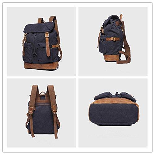 YAAGLE Herren Retro Rucksack Canvas Damen Reisetasche Leinwand Schultertasche große Schultasche Laptoptasche Tarnung4