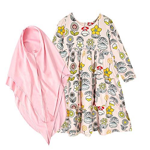 TTLOVE Muslim Mädchen Kleider Elegant Langarm Dubai Princess Kleider Maxikleid + Blumen Kopftuch für Kinder Festlich Casual Sommerkleid (Rosa,130)