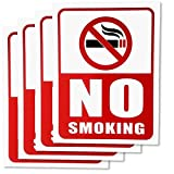 #8: clickforsign No Smoking Sign Board - 4 Pieces - Rust Free - Clear And Visible Text - Light, Tough, Long-Lasting - Stop Cigarette/Cigar Use - Perfect For Office