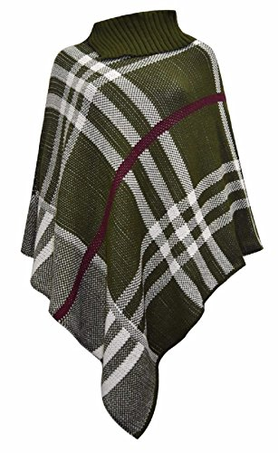 Femmes New Tartan Polo cou Pull Châle chaud Poncho One Taille. One Taille 8 à 22 Khaki & White Check Print