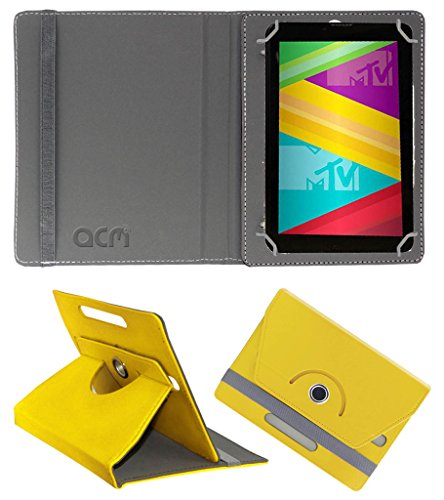 Acm Rotating 360° Leather Flip Case for Swipe Mtv Slash 4x Cover Stand Yellow  available at amazon for Rs.149