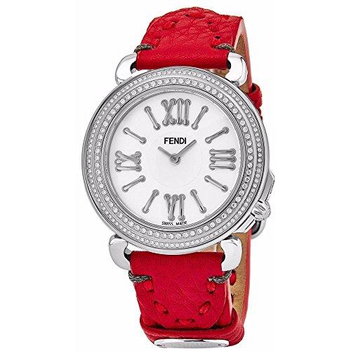 Fendi Women's Selleria Diamond 35mm Red Swiss Quartz Watch F8010345H0P0.SK