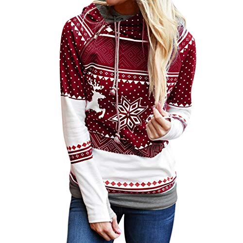 Weihnachten Frauen Kapuzenpulli ReißVerschluss Punkte Drucken Tops Pullover Bluse T-Shirt