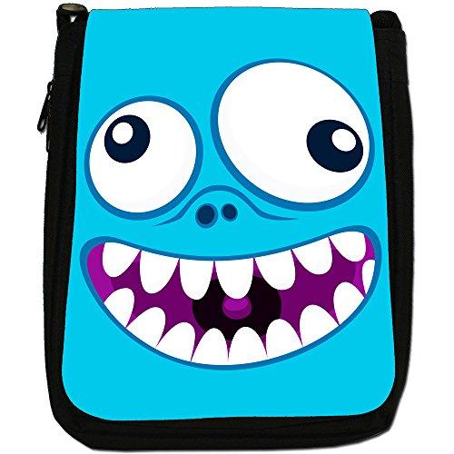 Monster Faces-Borsa a tracolla in tela, colore: nero, taglia: M Nero (Crazy Monster Face)