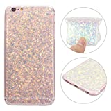 iPhone 6S Plus Hülle, iPhone 6 Plus Glitzer Case Rosa Schleife 3D Bling Shiny Case Cover Transparent TPU Silikon Backcover Glitter Handyhülle Schale für iPhone 6 Plus / 6S Plus Lila