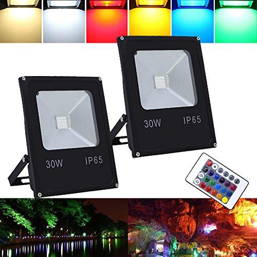 VINGO® 2X30W LED RGB Faretto LED LED Flutlicht Strahler Außen Fluter Wasserdicht mit Fembedienung Gartenleuchte