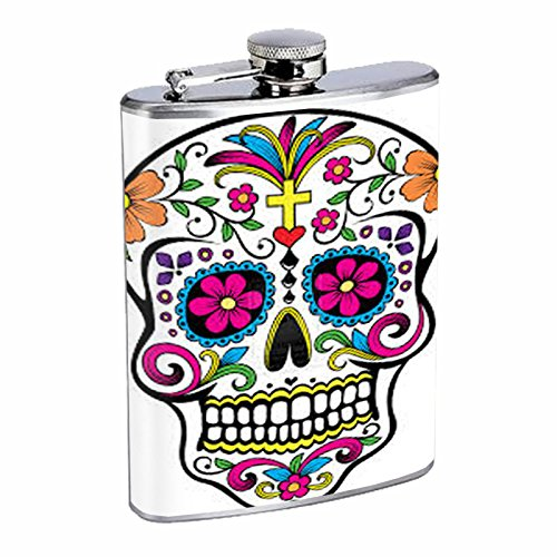 8oz Hip Flask Stainless Steel with Sugar Skull Day of the Dead Dia De Los Muertos Mexican Folk Art Design D6 by Perfection In Style -