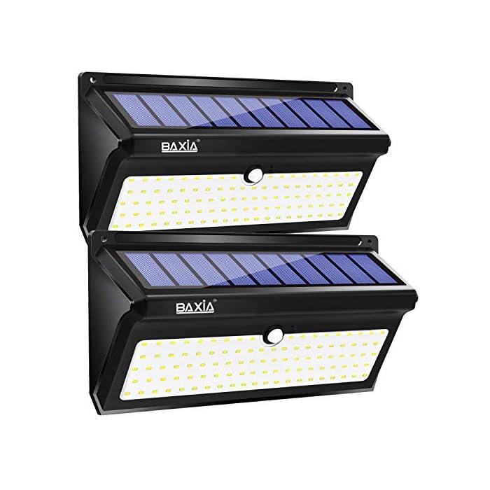 Baxia 2000lm lampade solari led da esterno 100 led for Lampade led esterno