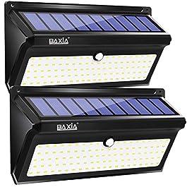 BAXiA 2000LM Lampade Solari Led da Esterno, 100 LED Luci Solari Giardino, Luce Solare Led Esterno con Sensore di Movimento Lampada Solare per Giardino, Portico, Cortile, Garage(2 Pezzi)