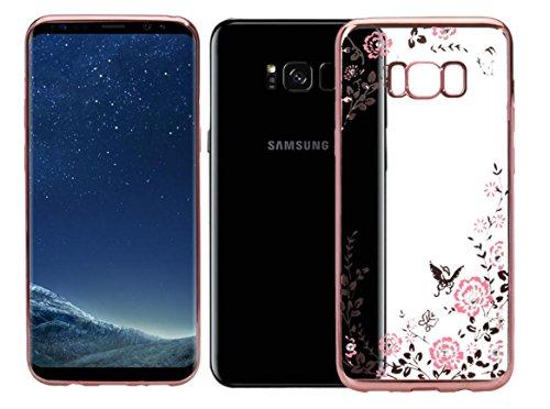 """EMIRROW Samsung Galaxy S8 Plus (6.2"""") Hülle,weich TPU Silikon Handyhülle transparente --Galvanik Rahmen / Blume / Strass Glitzer Schutzhülle für Samsung Galaxy S8 Plus (6.2"""") (Rosen gold)"""