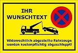 Schild Park-verbot - Parken verboten – Wunschtext - 45x30cm | mit Bohrlöchern | stabile 3mm starke Aluminiumverbundplatte – S00020A-C +++ in 20 Varianten erhältlich