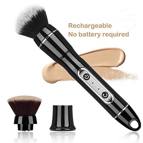 LXHSY Elektrische Rotierende Make-Up-Bürste, Rotierende Automatische Kosmetikbürstenschleuder Mit Premium Synthetic Foundation Und Rougeköpfen, 2 Bürstenköpfe