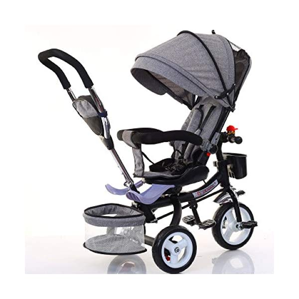 BGHKFF 4 In 1 Kids' Trikes 6 Months To 5 Years 360° Swivelling Saddle Pram Easy To Assemble Adjustable Push Handle 5-Point Safety Belt Folding Sun Canopy Childrens Tricycles Maximum Weight 25 Kg,Grey BGHKFF ★Material: Steel pipe, suitable for children from 6 months to 5 years old, the maximum weight is 25 kg ★ 4 in 1 multi-function: can be converted into a stroller and a tricycle. Remove the guardrail and awning as a tricycle. ★ Baby tricycle with 360° swivel seat, baby can face parents, easy for parents to take care of the baby, detachable and adjustable sunroof to provide maximum comfort for your child. 1