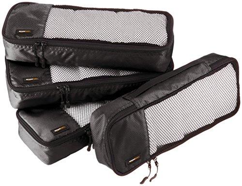 AmazonBasics Lot de 4sacoches de rangement pour bagage TailleSlim, Noir