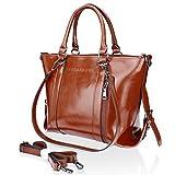 Handbags,Tote Bags SPSHENG Designer Ladies Leather Shoulder Handbags with Cross body Strap Brown