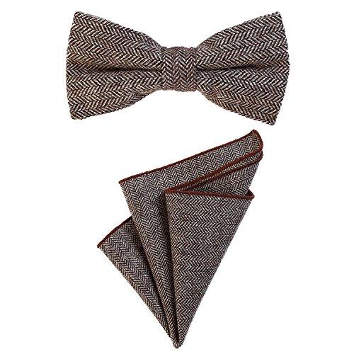 DonDon Herren Fliege 12 x 6 cm mit farblich passendem Einstecktuch 23 x 23 cm beides aus Baumwolle im Tweed Look braun kariert - Tweed Vintage-anzug