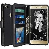 Huawei P8 Lite 2017 Hülle, LK Luxus PU Leder Brieftasche Flip Case Cover Schütz Hülle Abdeckung Ledertasche für Huawei P8 Lite 2017 (Schwarz)