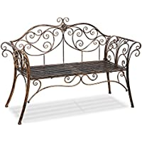 HLC Metal antique garden bench Outdoor Doubel Seat with Decorative Cast Iron Backrest