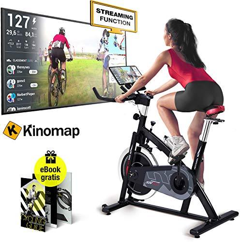 Sportstech Bicicleta estática Profesional SX200 -Marca de Calidad Alemana - Live Videos & App Multijugador, Volante de Inercia de 22Kg -Bicicleta con Correa de transmisión -hasta 125Kg, Incl. eBook