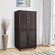 HomeTown Gayle Engineered Wood Four Door Shoe Storage Rack in Wenge Color
