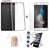 *PACK INCASSABLE iPOMCASE®* COQUE SOUPLE GEL SILICONE INCASSABLE TRANSPARENTE + FILM PROTECTEUR INCASSABLE VERRE TREMPE HUAWEI P8 LITE (ALE-L21) - P8 LITE 2016