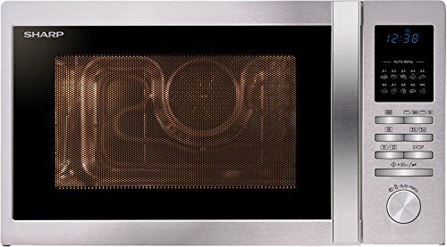 SHARP R-822STWE 3-in-1 Kombi-Mikrowellengerät inkl. Grill und Heißluft / 25 L / LED-Display / 10 Automatikprogramme / Zeitschaltuhr / 5 Leistungsstufen / Gewichtgesteuertes Auftauen / Edelstahl -