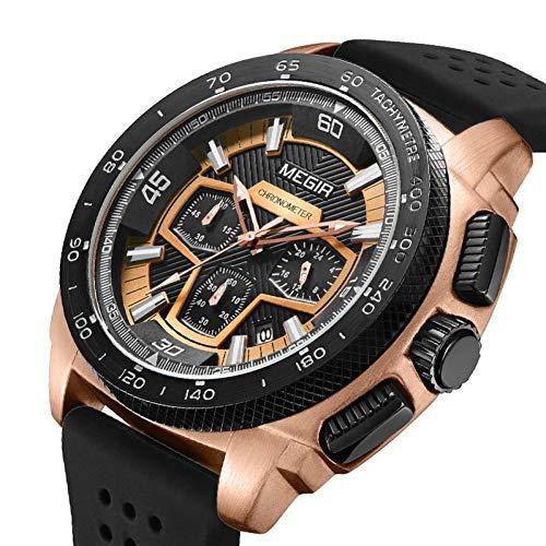 SBDONGJX Chronographe Hommes Montre Sport Silicone Armée Montres Militaires Relogio Masculino Montre À Quartz Montre-Bracelet Horloge Hommes