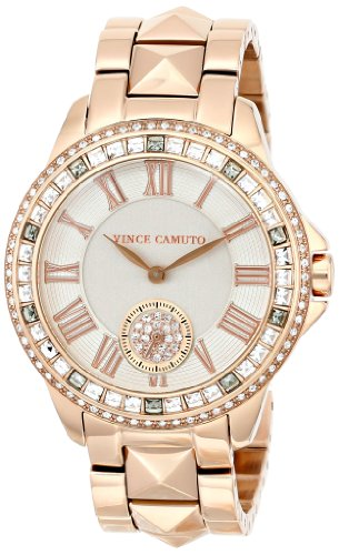 Vince Camuto Women's VC/5160GYRG Swarovski Crystal-Accented Rose Gold-Tone Pyramid Bracelet Watch