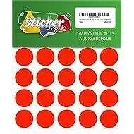 120 Klebepunkte, 30 mm, Markierungspunkte, Punkt, PVC, Vinyl, Folie, Neon, rot, leuchtend, rund, selbstklebend