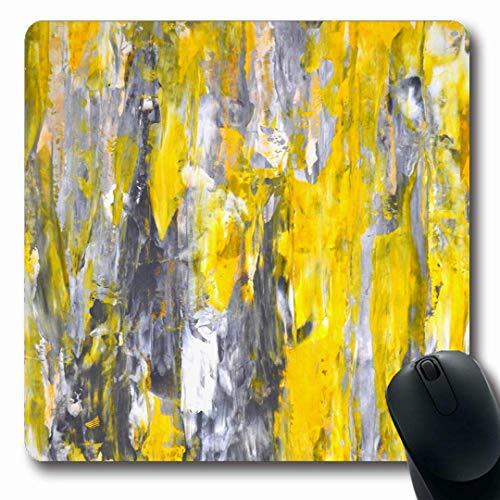 Luancrop Mousepads Moderne graue gelbe abstrakte Malerei-Messer-Palette Zeitgenössische Galerie-rutschfeste Spiel-Mausunterlage Gummi-längliche Matte -
