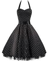 Pretty Kitty Fashion 50s Polka Dot Schwarz Weiß Neckholder Cocktail Kleid