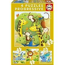 Educa Borrás Animales Salvajes, set de 4 puzzles progresivos de 12, 16, 20