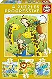 Educa Borrás Animales Salvajes, set de 4 puzzles progresivos de 12, 16, 20 y 25 piezas (17147)