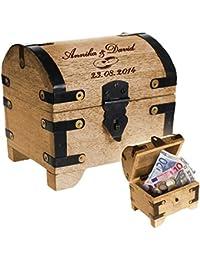 Cofre del tesoro de madera clara con grabado – Regalos de boda – Caja de madera para regalos de dinero – Motivo [Anillos de boda] – Personalizado con [nombres] y [fecha] deseados – 14 x 11 x 13 cm