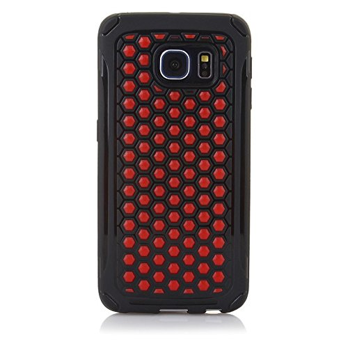 ImagineDesign Premium Dual Layer Beehive HoneyComb Pattern PC+TPU Back Case Cover for Samsung Galaxy S6 Edge- Red