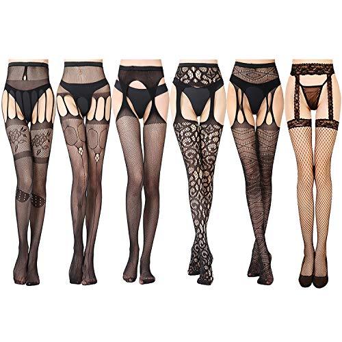 GVOO Netzstrumpfhosen, 6 Stück 6 Stile Sexy Fischernetz Strumpfhosen für Damen Kostüm - Sexy Kostüm Frauen