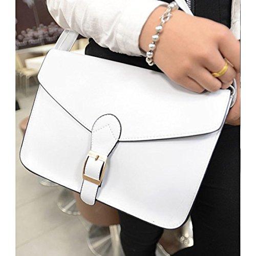 TOOGOO(R) Cartella di alta qualita del sacchetto di spalla del sacchetto di busta dellannata di stile del sacchetto del messaggero delle donne giallo bianca