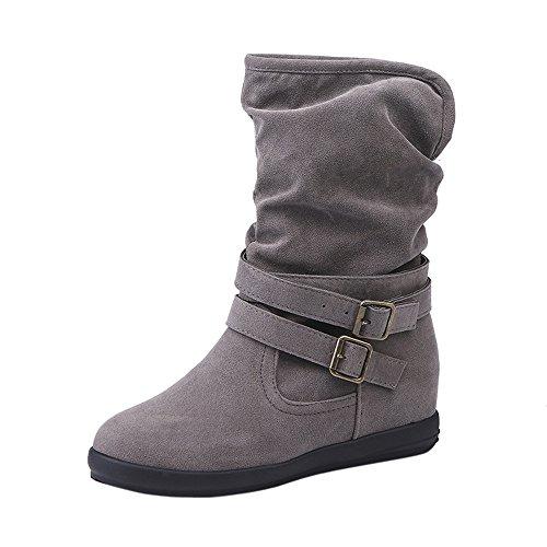Stiefeletten Damen,Damen Niedrige Keil Schnalle Biker Knöchel Trim Flache Stiefeletten Schuhe,❤️Binggong Damen Stiefeletten